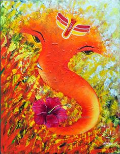 """A beautiful lord Ganesha painting for you - Acrylic on Canvas ~ 14"""" x 18"""""""