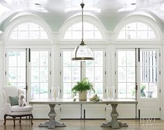 dining room with arched windows by Beth Webb Interiors Arched Window Treatments, Arched Windows, Windows And Doors, Ceiling Windows, Dome Ceiling, Tall Windows, Ceiling Height, House Windows, Rooms Ideas