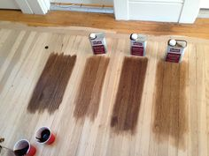 floor stain, left to right (all DuraSeal):Dark Walnut, Special Walnut, Antique Brown, Provincial