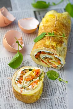 Omelette Rollups or Roulade with Smoky Fried Potatoes, Cream Cheese, Bell Pepper and Watercress recipe - you could easily change the fillings to make various yummy meals.