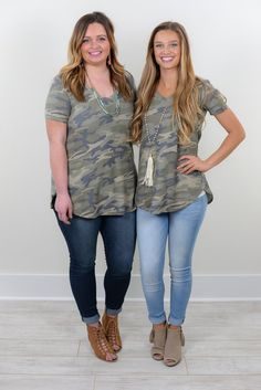 Undercover Boss Lady Camouflage V Neck Top - B720AG