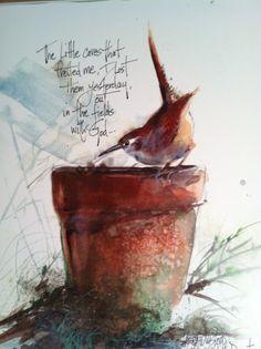 Aquarelle de Wren jardin reposant sur le pot de par WatercolorTales