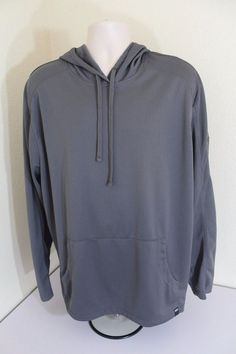 EVERLAST SPORT men hooded shirt (XL) long sleeve dark gray polyester #Everlastsport #ShirtsTops