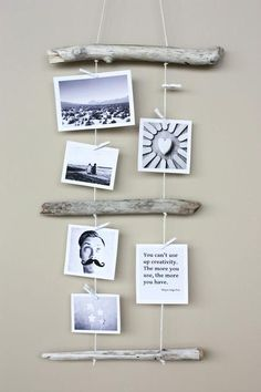Kreativ Fotos aufhängen – Mit Holz und Garn Creative photos hanging – with wood and yarn As you dru photos on woodDropped tree branch with hit's a jungle in here Driftwood Projects, Driftwood Art, Driftwood Ideas, Driftwood Mobile, Painted Driftwood, Driftwood Beach, Creation Deco, Home And Deco, Photo Displays