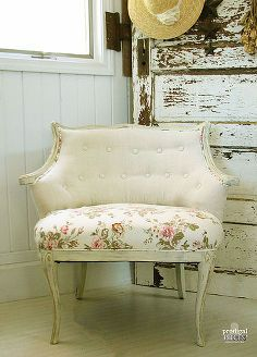 linen roses antique chair makeover, chalk paint, home decor, painted furniture, reupholster