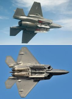 The F-22 has one main (though split) weapon bay with two doors. The F-35 has two distinct main weapon bays each with two doors.  Top Photo by Andy Wolfe ; Bottom Photo by Katsuhiko Tokunaga
