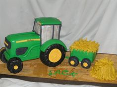 Yet another John Deere tractor cake. The wheels are RKT - all else is cake covered in fondant. Twin Birthday, Farm Birthday, Birthday Ideas, Birthday Parties, Tractor Birthday Cakes, Tractor Cakes, Beetroot Chocolate Cake, John Deere Party, Farm Cake