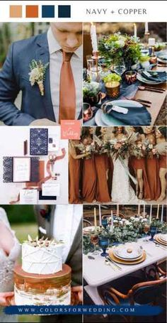 Wedding Color Combinations, Wedding Color Schemes, Wedding Color Pallet, Copper Wedding Decor, Theme Color, Blue And Copper, Dream Wedding, Summer Wedding, Fall Wedding Suits