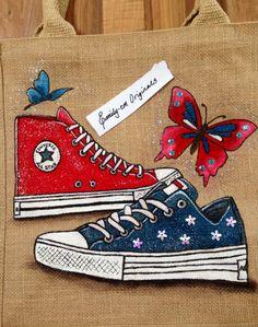 Emily-em Original Bag Designs. Converse Trainers. #PersonalisedJuteBag