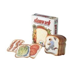 Slamwich from Gamewright. Flip and stack this clever loaf of cards to build slamwiches and double-deckers. Slamwich Card Game from Gamewright. Ages 6 and up. Family Game Night, Family Games, Games For Kids, Games To Play, 100 Games, Toys R Us Canada, Parents Choice, Gaming, Thing 1