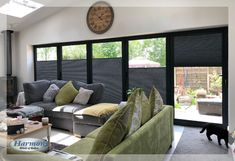 Ooooh! Lovely Anthracite Grey Bi-fold Doors with Perfect Fit Hive Blinds. Gorgeous <3