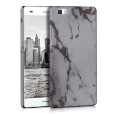 HARD COVER MARBLE DESIGN FOR HUAWEI P8 LITE WHITE CASE BACK SHELL BUMPER MOBILE #kwmobile