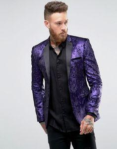 ASOS   ASOS Super Skinny Blazer In Purple Velvet