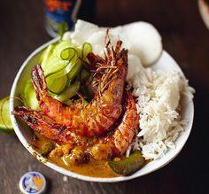 Jamie Oliver's 30-minute meals: Thai red prawn curry, jasmine rice, cucumber salad, papaya platter