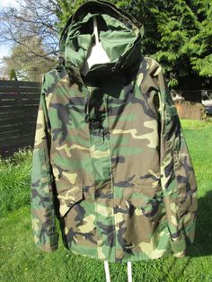 Military NOS GoreTex Jacket Woodland Bdu Wet/Cold by Simplemiles, $125.00