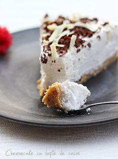 Cheesecake cu lapte de nuca de cocos reteta. Ingrediente si mod de preparare crema de lapte de cocos. Reteta blat cheesecake. Cheesecake cu cocos.