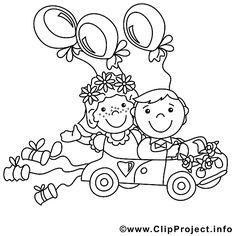 Ausmalbild Brautpaar im Hochzeitsauto