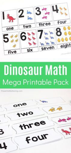 Explore a variety of math skills with this mega dinosaur printable pack. Have fun while strengthening math skills such as time, counting, and so much more. Dinosaur Theme Preschool, Dinosaur Printables, Dinosaur Activities, Free Preschool, Preschool Kindergarten, Preschool Activities, Free Printables, Math Lessons, Math Skills