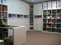 """Ikea Expedite craft storage with bookcases - I love it when everything has a """"home""""."""