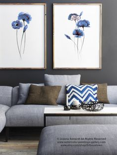 Set of 2, Abstract Blue Flowers, Poppies Watercolor Painting, Poppy Wall Art Home Decor Floral Print by ColorWatercolor on Etsy https://www.etsy.com/listing/248708305/set-of-2-abstract-blue-flowers-poppies