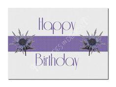 Printable Birthday Card Purple Flowers by attitudesindesign, $4.00