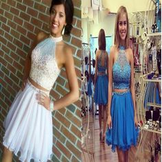 2107 Popular halter two pieces beaded homecoming prom dresses, SF0037