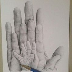 Pencil drawing of hands drawing art & mural ideas in 2019 искусство рис Cool Art Drawings, Pencil Art Drawings, Art Drawings Sketches, Family Drawing, Baby Drawing, Painting & Drawing, Drawing Drawing, Mother Art, Tattoos For Kids