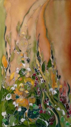 garden II - Painting, 30x55 cm ©2015 by Marzena Walczuk - Abstract Art, Contemporary painting, Fabric, Other, Abstract Art, Botanic, Colors, Garden, Nature, silk, silk dyes, gutta