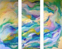 Vertige 3x38x100cm : peinture à l'huile sur toile. Triptyque réalisé pour un cadeau de mariage