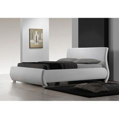 @Overstock - Finish: White   Upholstery materials: Bonded leather  Upholstery color: White   http://www.overstock.com/Home-Garden/Montecito-White-Queen-size-Bed/6313250/product.html?CID=214117 $799.19