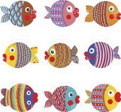 Coleção de peixes dos desenhos animados coloridos gráfico vetor e ilustração royalty-free royalty-free