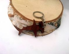 Wooden Hammerhead Shark Keychain Walnut Wood Animal