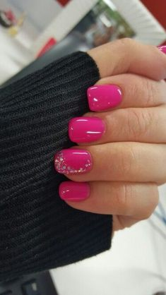 Hot pink nails with a little bit of bling #DIYNailDesigns