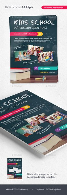 Buy Kids School Flyer by on GraphicRiver. Elegant flyer perfect for kids school education print ready background photo included – i own the copyright CMYK, Corporate Flyer, Business Flyer, Flyer Inspiration, Design Inspiration, Preschool Logo, Birthday Flyer, School Murals, Leaflet Design, School Of Engineering