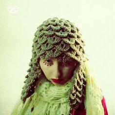 diEnes / barzajka- crochet handmade crocodile hat cap with ear flap