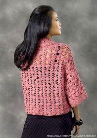 Ravelry: Xian Crochet Kimono Jacket pattern by Cari Clement Crochet Coat, Crochet Cardigan Pattern, Crochet Jacket, Crochet Blouse, Crochet Clothes, Crochet Patterns, Loose Fitting Tops, Kimono Jacket, Jacket Pattern