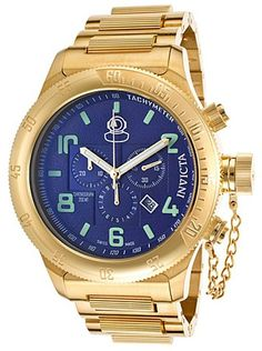 Invicta Men's Russian Diver 18k Gold Plated Steel Chronograph Blue Dial