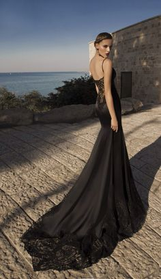 Galia Lahav Haute Couture: Moonstruck - layers of lace and silk, black prism of black shades and shimmers of sheer textured fabric #mermaidshapes