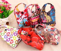 5 pieces Reusable Foldable Shopper Waterproof  Eco Tote Strong Flowers Bags  16091402