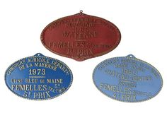 $225 French Agricultural  Trophy Plaques, S/3, 9x6