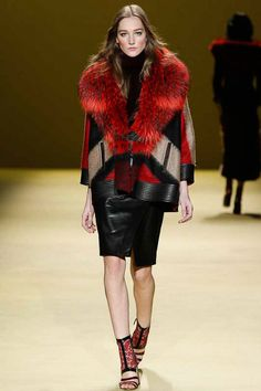 This J. Mendel Fall 2014 statement coat is a must. Graphic. Red. Leather.