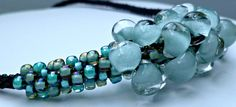 Blue beaded Kumihimo mini cluster necklace by TheBeckoningCat