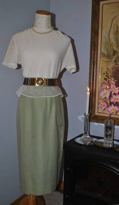 Vintage Green Linen 2pc Pencil Wiggle Skirt Dress Sheer Blouse Set Suit Sz 6 S #JoCollins