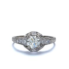 Front view of 14k Diamond Engagement Ring