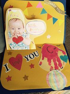 余った手形で…,手形,足形,アート Baby Crafts, Diy And Crafts, Crafts For Kids, Art Birthday, Birthday Cards, Thanks Card, Fathers Day Presents, Hand Art, Making Memories