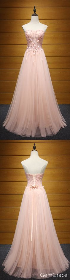 long tulle pink prom dress