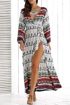 $17.52 Deep V Neck Long Sleeve Bohemian Dress With Belt