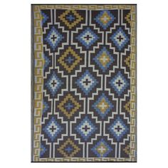 Fab Rugs World Lhasa Royal Blue/Chocolate Brown Rug