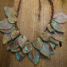 Leaves copper and patina polymer clay necklace - Necklaces