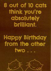 Humorous birthday card by Comedy Card Company 8 out of 10 cats think you're absolutely brilliant. Happy Birthday from the other two . . . Birthday card with a humorous...